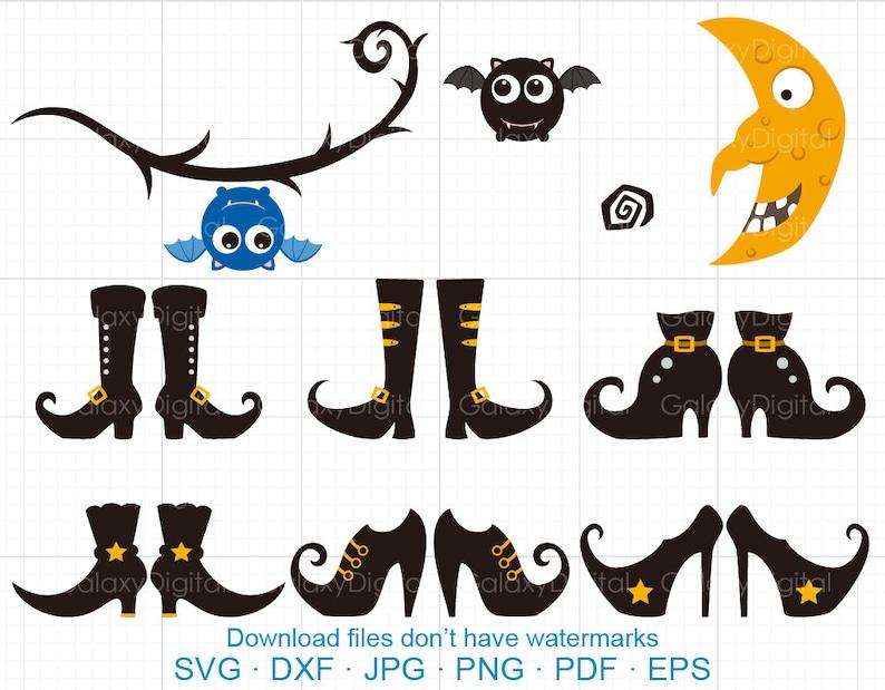 Halloween Gebruiken.Halloween Heks Schoenen Svg Bat Wijnstokken Maan Heks Clipart Svg Dxf Silhouet Cricut Gesneden Bestanden Commerciele Gebruiken