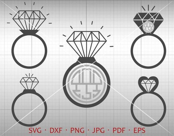 Diamond Ring Svg Wedding Monogram Frame Svg Diamond Clipart Etsy