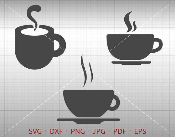 Coffee Svg Coffee Cup Clipart Dxf Cutting Template Vector Etsy