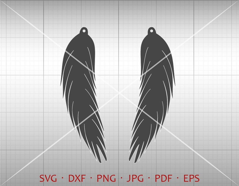 Feather Earring SVG Long Pendant svg Teardrop Vector DXF Leather Earring Jewelry Laser Cut Template Commercial Use Tear Drop SVG