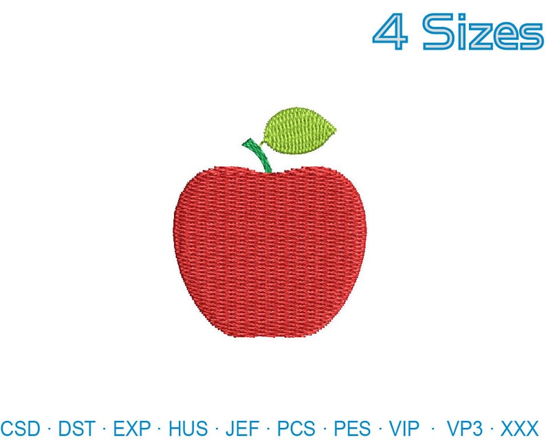 Mini Apple Embroidery Design Teacher Embroidery File Etsy