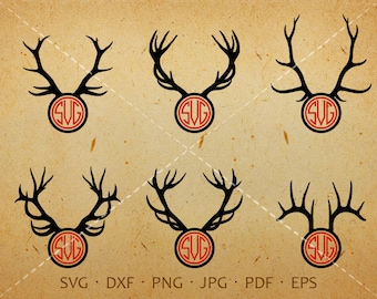 Reindeer Antler SVG, Antler Monogram SVG with Circle Font, Antler Clipart Shirt SVG Silhouette Cricut Cut Files Commercial and Personal Use