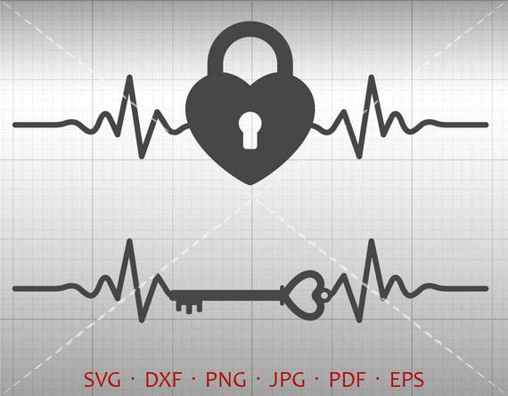 Heartbeat Heart Lock And Key Svg Ekg Heart Lock Clipart Dxf Etsy