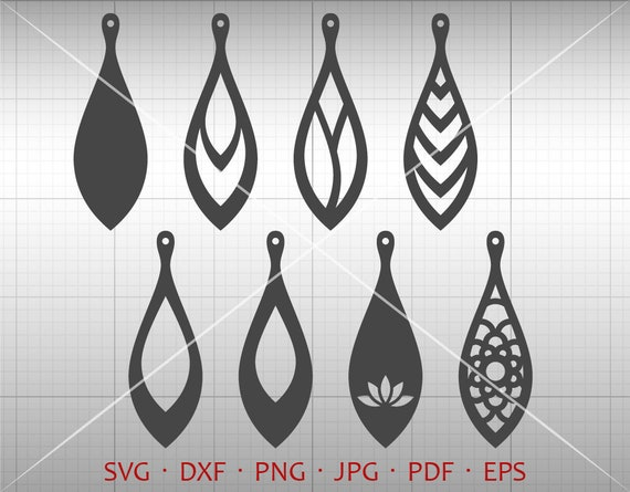 Teardrop Vector DXF Round Pendant svg Tear Drop SVG Leather Earring Jewelry Laser Cut Template Commercial Use Round Earring SVG