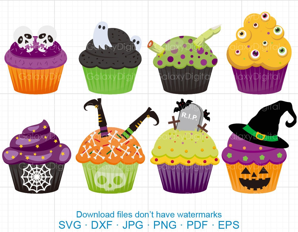 Halloween Cupcake Clipart SVG Cup Cake Clipart SVG DXF | Etsy