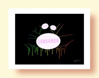 Colorful Climax line rainbow- Erotic Art DIGITAL Print Illustration Wall Art Poster Home Decor Digital Art Nude Sex Sexual Love Hot Mature