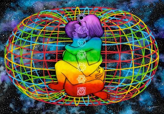 Erotic Art GICL\u00c9E Print Illustration Wall Art Poster Home Wall Decor Watercolor Painting Sex Mature Soul Spiritual Universe Quantum Love