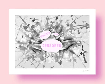 Colorful Climax b&w - Erotic Art GICLÉE Print Illustration Wall Art Poster Home Wall Decor Acrylic Painting Fine Art Sex Sexual Nude Mature