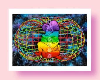 Quantum Love - Erotic Art GICLÉE Print Illustration Wall Art Poster Home Wall Decor Watercolor Painting Sex Mature Soul Spiritual Universe