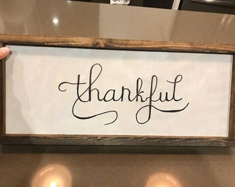 Thankful Sign | Thanksgiving Signs | Fall Signs | Thankful Wood Signs