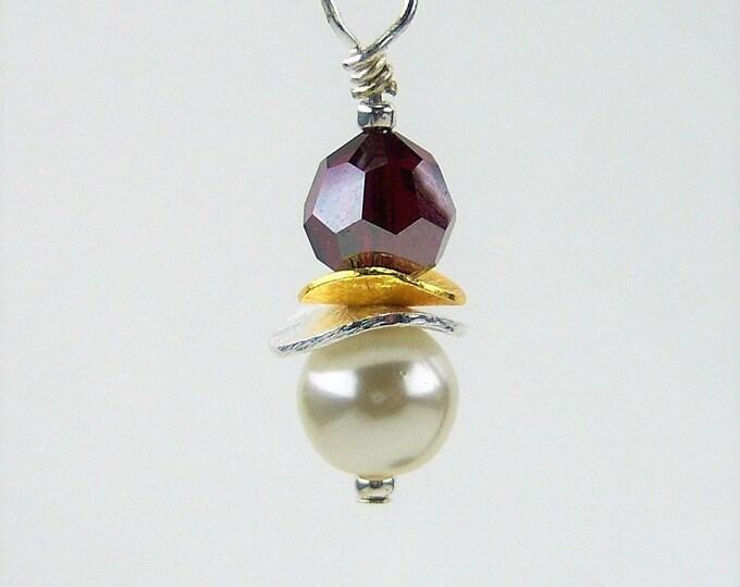 E501 - Pearl and Swarovski Bead Earrings