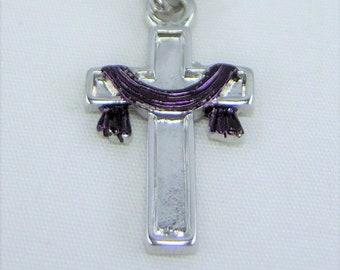 N144 - Cross, Purple Draped, Necklace