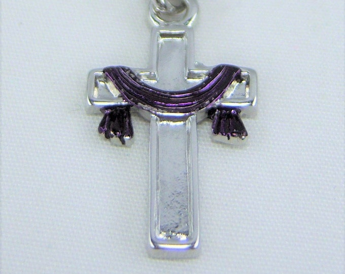 N144 - Cross, Purple Draped, Necklace