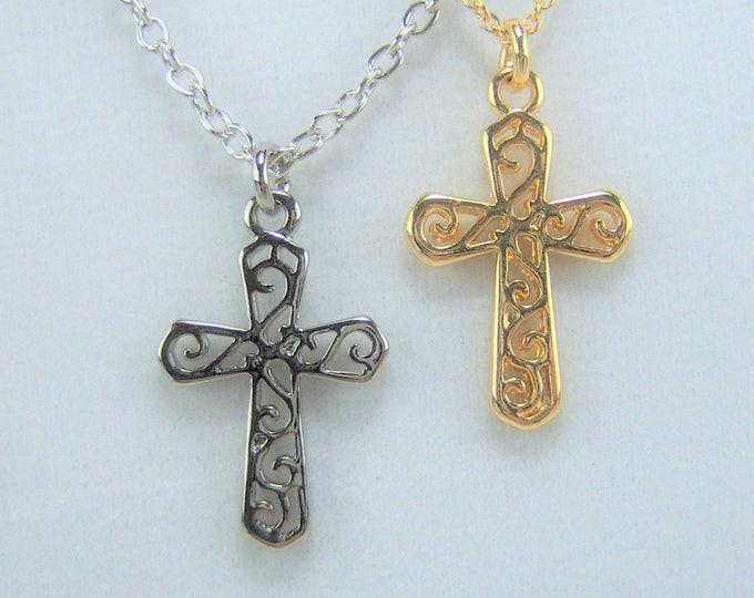 N369 - Cross, Scroll, Necklace