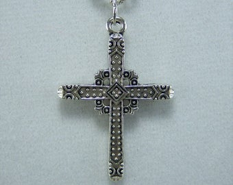 N417, Cross, Antique Nickel, Necklace