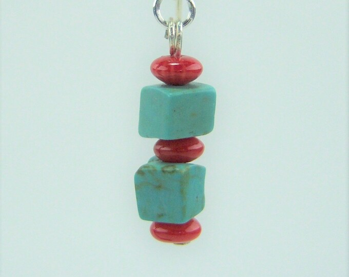 HMJ065 - Turquoise Dyed Jasper and Red Bamboo Coral Bead Earrings