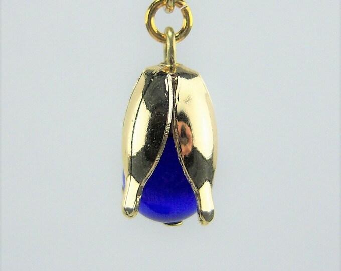 E507 - Sapphire Cats Eye Spring Bud Earrings