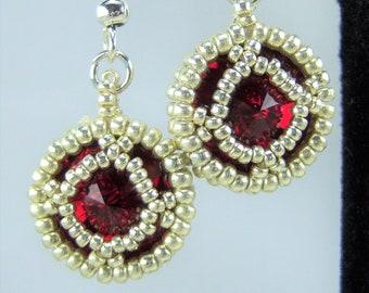 HE115 - Swarovski Siam Crystal and Silver Hand Beaded Earrings