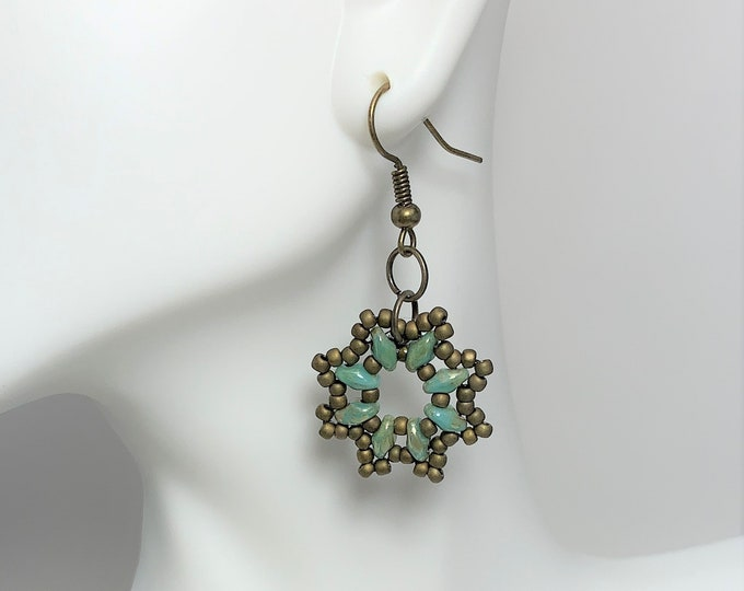 HE622 - Turquoise Green Picasso Hand Bead Earrings