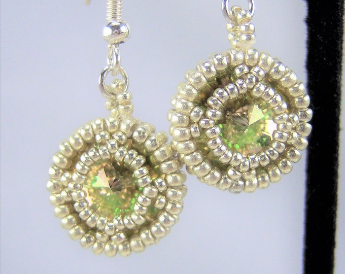 HE107 - Swarovski Luminous Green Crystal and Silver Hand Beaded Earrings