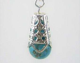 HMJ503 - Turquoise Dyed Howlite with Silver-Plated Bead Cap Earrings