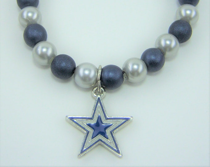 B277 - Blue and Silver Star Bracelet