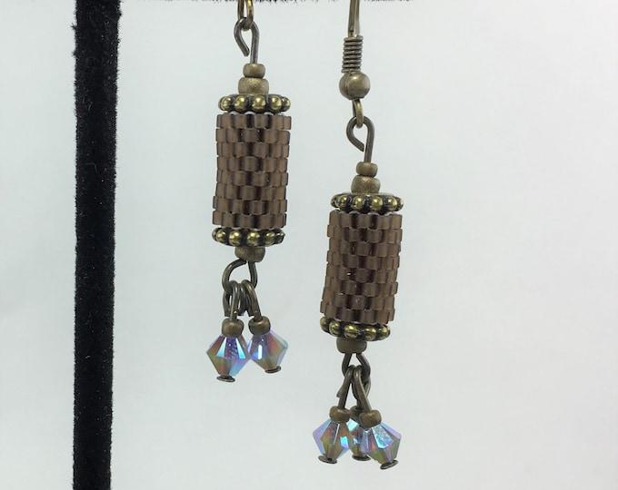 HE289 - Peyote Stitch 'Brown Velvet' Earrings