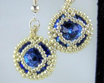HE106 - Swarovski Sapphire Crystal and Silver Hand Beaded Earrings