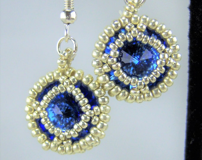 HE106 - Swarovski Sapphire Crystal and Silver Hand Beaded Earrings