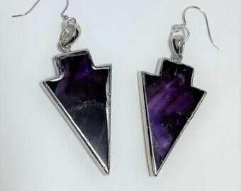 E607 - Amethyst Arrowhead Earrings