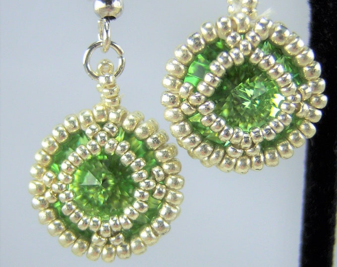 HE114 - Swarovski Peridot Crystal and Silver Hand Beaded Earrings