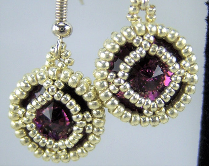 HE104 - Swarovski Amethyst Crystal and Silver Hand Beaded Earrings
