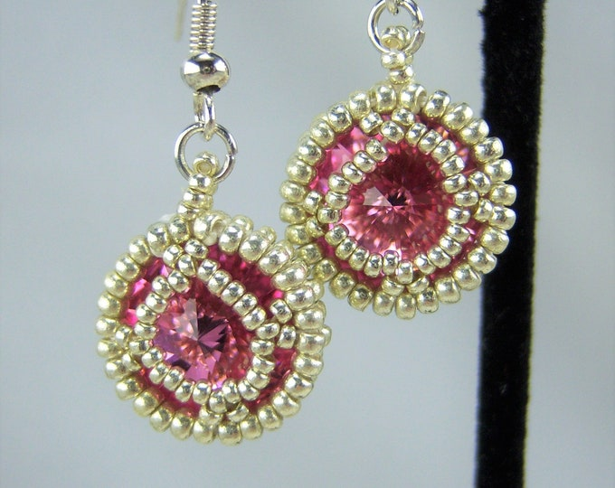 HE105 - Swarovski Rose Crystal and Silver Hand Beaded Earrings