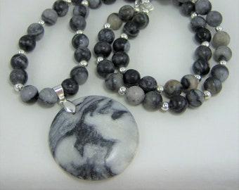 S315 - Black Gray Semi Precious Stone with Marble Pendant Jewelry Set