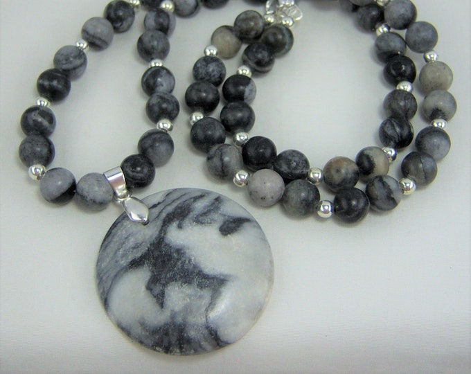 S315 - Black Gray Semi Precious Stone with Marble Pendant Jewelry Set