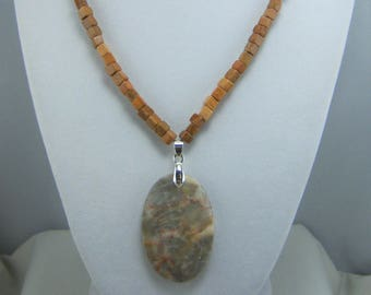 S235, Jasper and Marble Pendant Necklace and Earrings Set