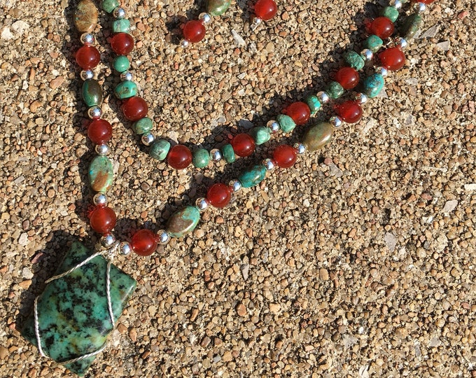 T512 - Turquoise, Burnt Red Agate and Silver Plated Bead Necklace and Earrings Set
