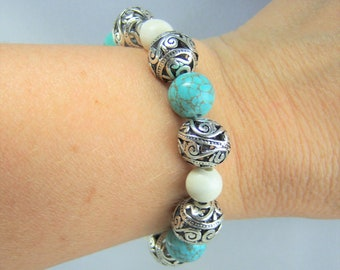 HMJ176 - Turquoise Dyed and White Howlite Bracelet