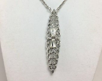 N162 - Vintage Silver and Crystal Pin Necklace