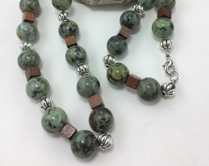 T511 - African Turquoise, Sterling Silver Plated and Wood Cube Bead Necklace