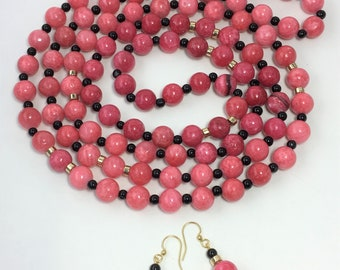S545 - Pretty in Pink Quartzite Necklace and Earrings Set