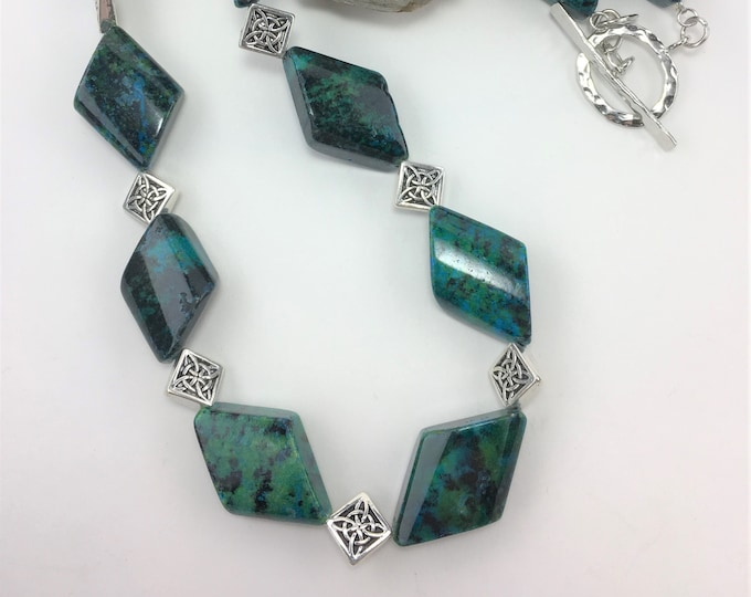 T516 - Yellow Turquoise (Dyed Blue) with Antique Silver Carved Diamond Bead Necklace