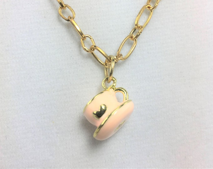 G282 - Pink Tea Cup Girls Necklace