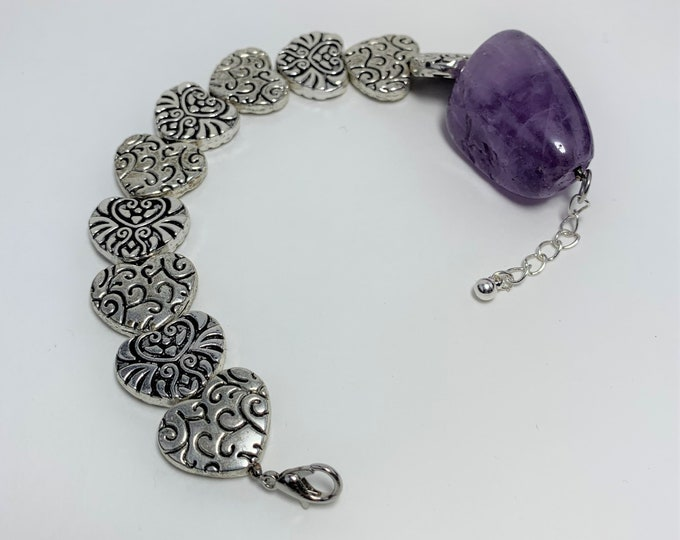 B609 - Amethyst and Silver Heart Bracelet