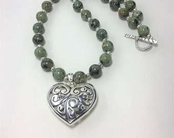 T589 - African Turquoise and Silver-Plated Heart Pendant Necklace