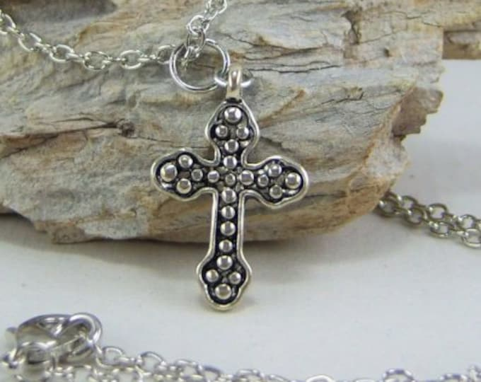 N376 - Cross, Antique Silver Ornate, Necklace