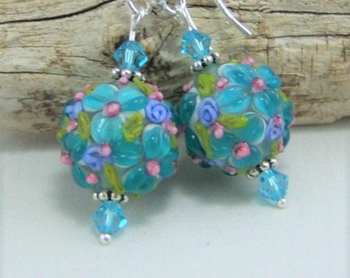 E422 - Lampwork Glass Bead & Swarovski Crystal Earrings