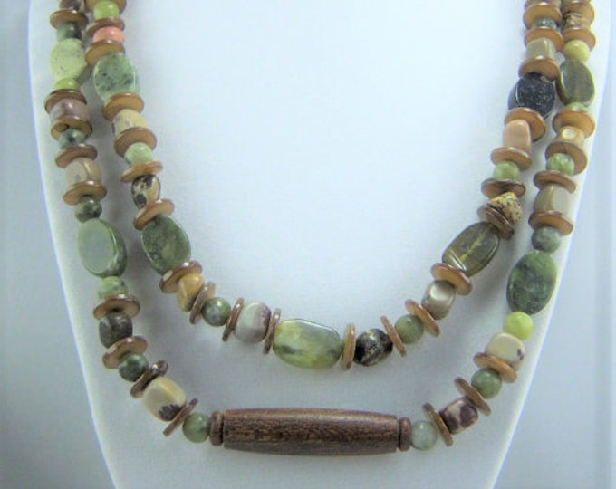 N178 - Crazy Horse, Jungle Jasper, Green Serpentine Oval Stones with Brown Shell and Wood Bead Necklace