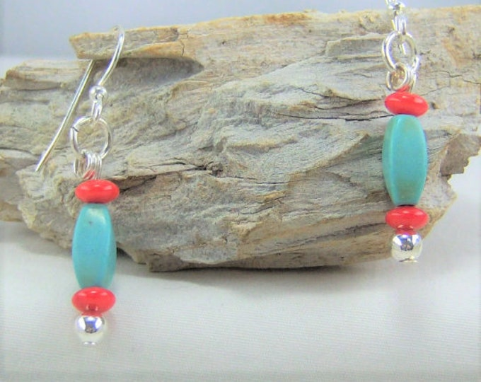 HMJ138 - Turquoise Dyed Howlite and Red Bamboo Coral Earrings