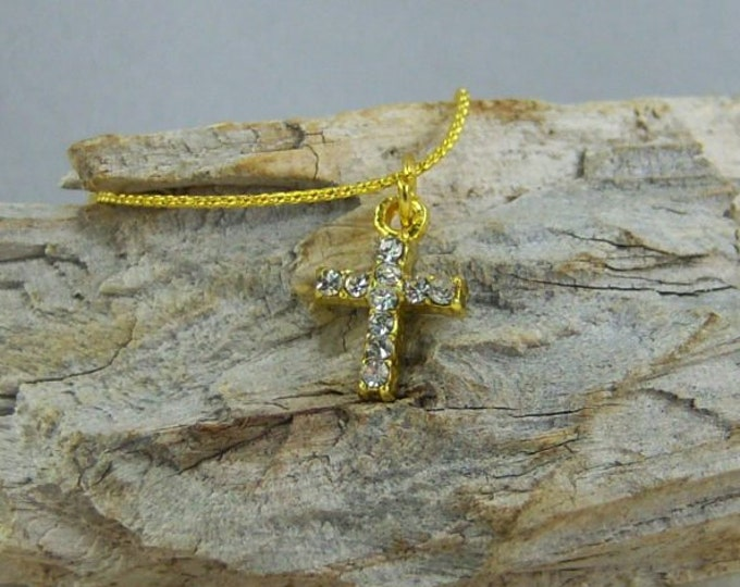 N037 - Cross, Gold Crystal, Necklace